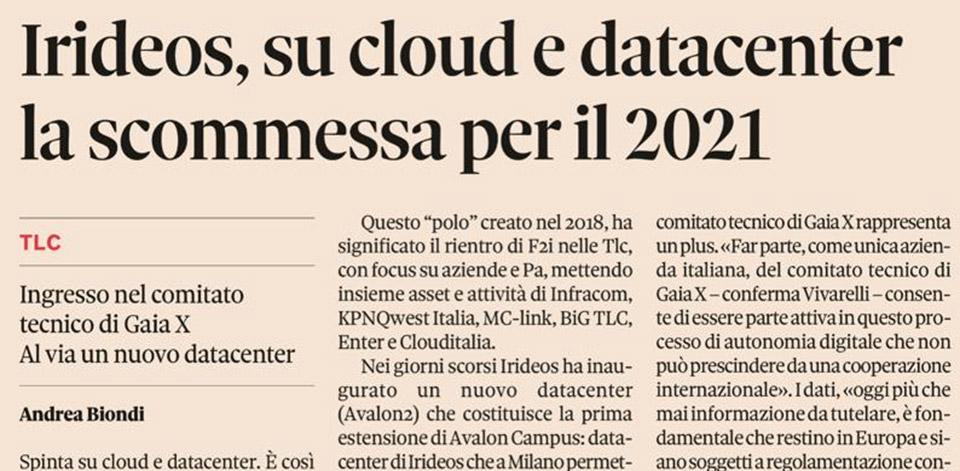 Sole 24 Ore – IRIDEOS, su cloud e data center la scommessa per il 2021